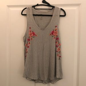 American Eagle floral stripes tank top
